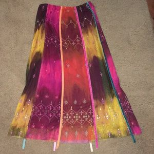 Pretty colorful long skirt. Mesh overlay. Size S
